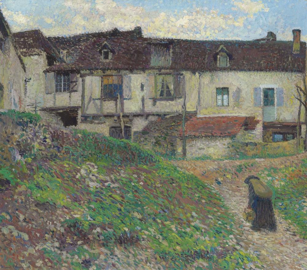 Henri Martin Köye Giriş, Kanvas Tablo, Henri Martin, kanvas tablo, canvas print sales
