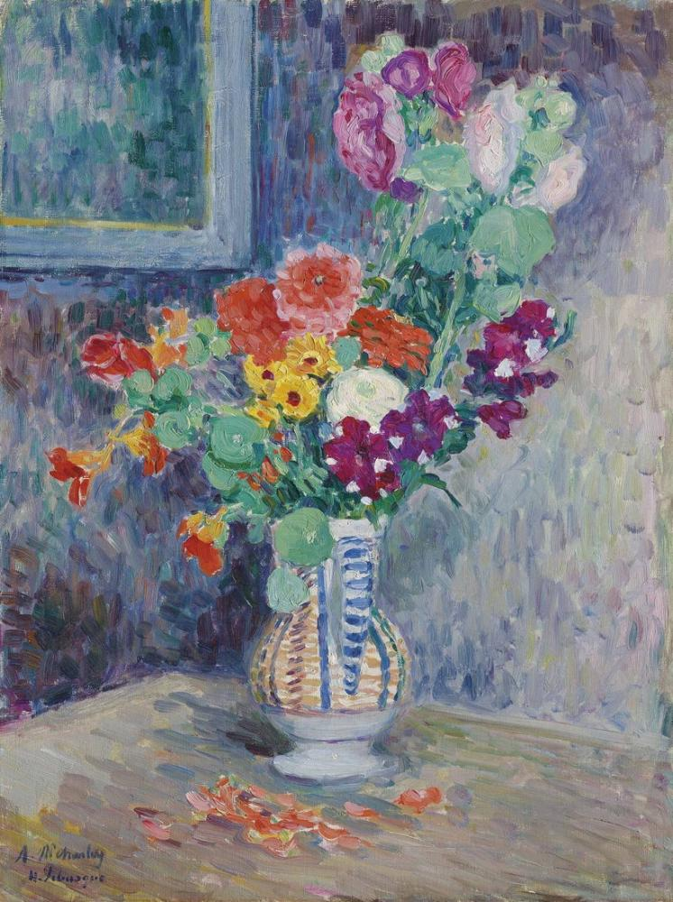 Henri Martin Lebasque Vase De Fleurs, Canvas, Henri Martin, kanvas tablo, canvas print sales