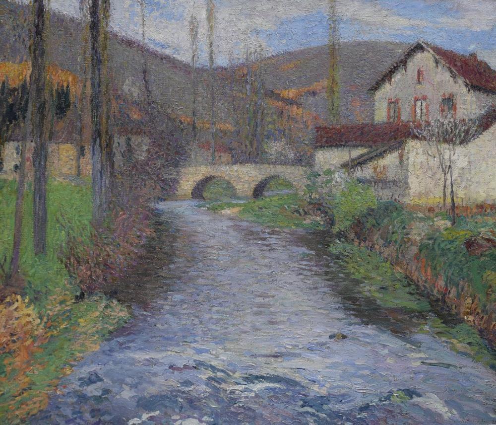 Henri Martin School And Green Bridge Labastide Du Vert, Canvas, Henri Martin, kanvas tablo, canvas print sales