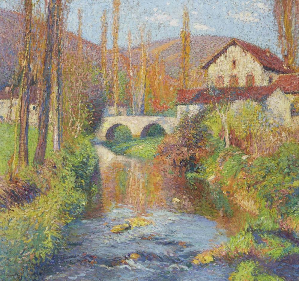 Henri Martin Le Pont De Labastide Du Vert Aux Cascatelles Apres Le Mea, Canvas, Henri Martin, kanvas tablo, canvas print sales