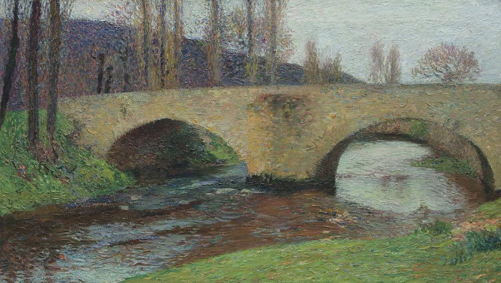 Henri Martin Le Pont De Labastide Du Vert En Hiver, Canvas, Henri Martin, kanvas tablo, canvas print sales
