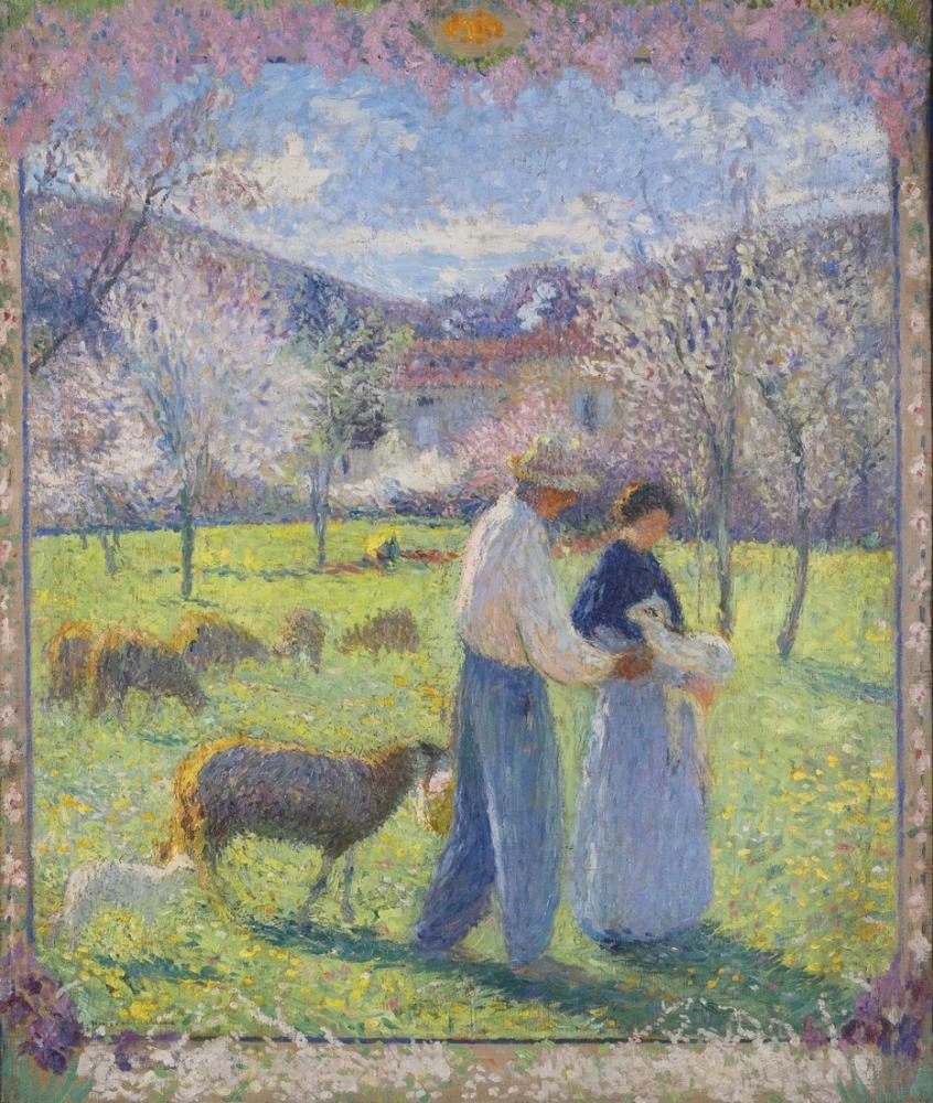 Henri Martin Çiçekli Çerçeve Bahar Versiyonu Aşıklar, Kanvas Tablo, Henri Martin, kanvas tablo, canvas print sales