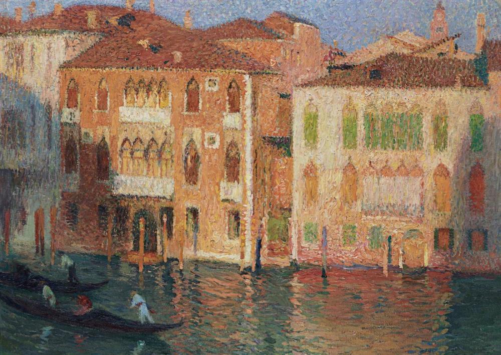 Henri Martin Venedik Saray Ve Gondolları Büyük Kanal, Kanvas Tablo, Henri Martin, kanvas tablo, canvas print sales