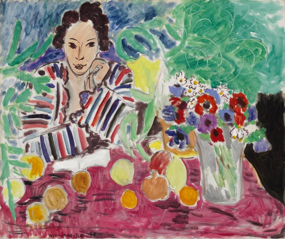 Henri Matisse Çizgili Elbise, Figür, Henri Matisse, kanvas tablo, canvas print sales