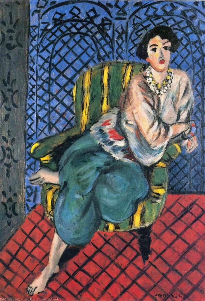 Henri Matisse Bir Sandalyede Oturan Kadın, Kanvas Tablo, Henri Matisse, kanvas tablo, canvas print sales
