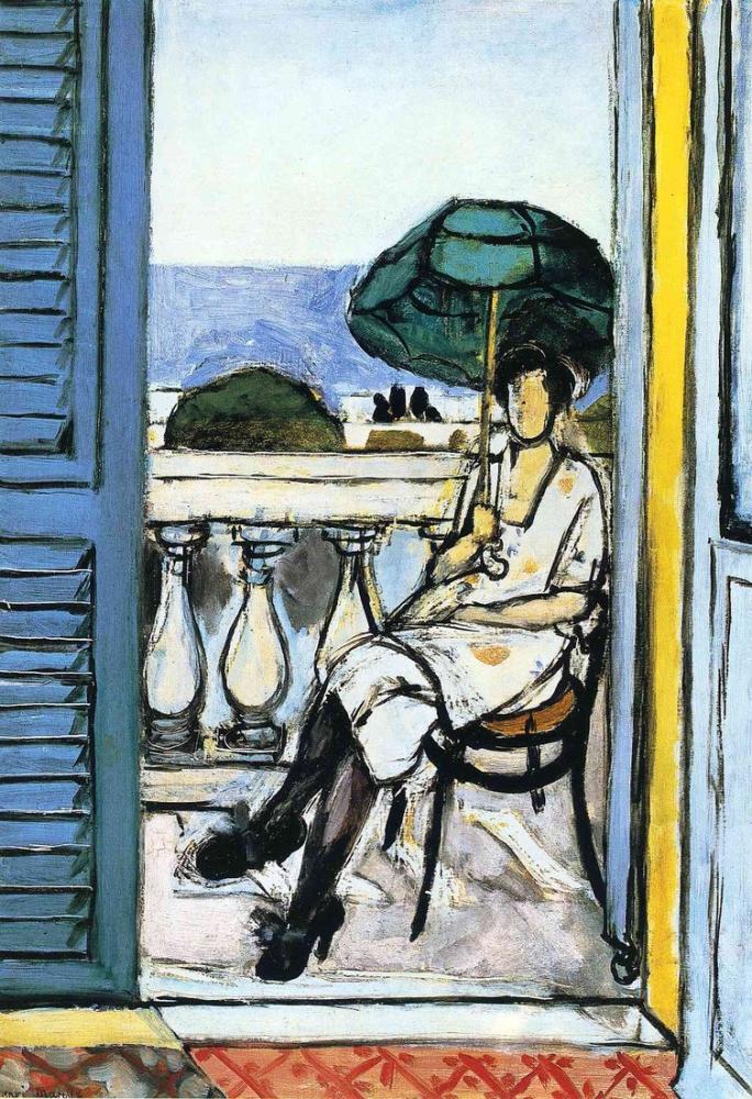 Henri Matisse Bir Balkonda Yeşil Bir Şemsiye İle Kadın, Kanvas Tablo, Henri Matisse, kanvas tablo, canvas print sales