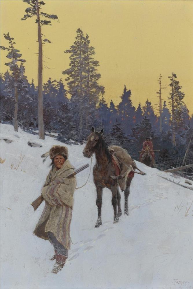 Henry François Farny After The Hunt, Canvas, Henry Farny, kanvas tablo, canvas print sales