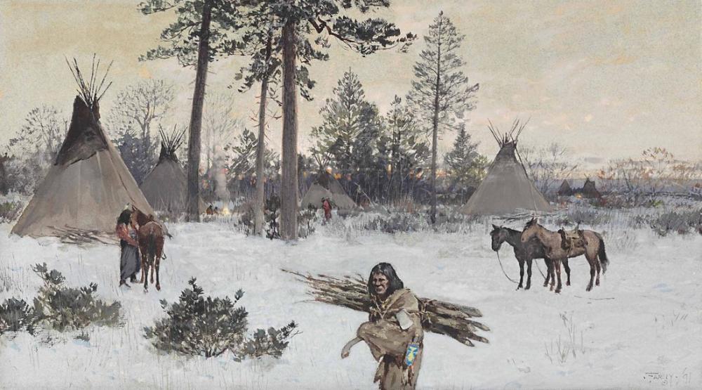 Henry François Farny Kış Kampı, Kanvas Tablo, Henry Farny, kanvas tablo, canvas print sales