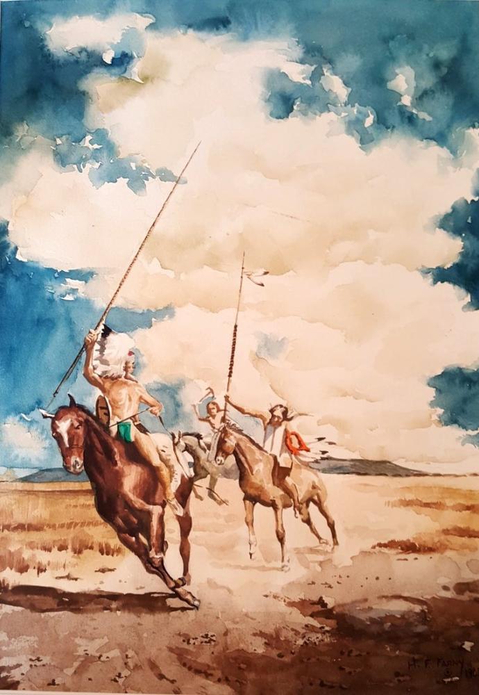 Henry François Farny Native Americans On Horseback, Canvas, Henry Farny, kanvas tablo, canvas print sales