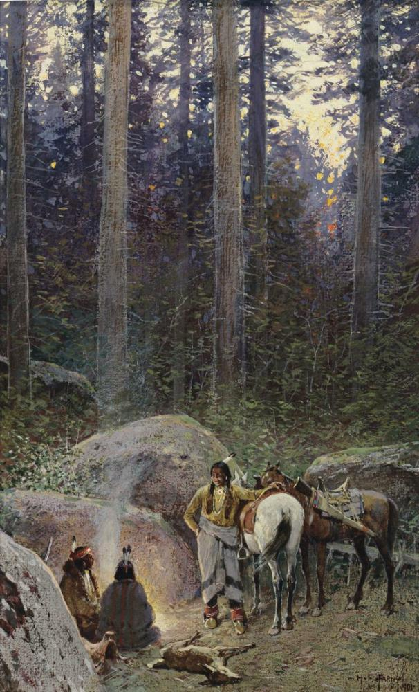 Henry François Farny After The Hunt, Canvas, Henry Farny, kanvas tablo, canvas print sales