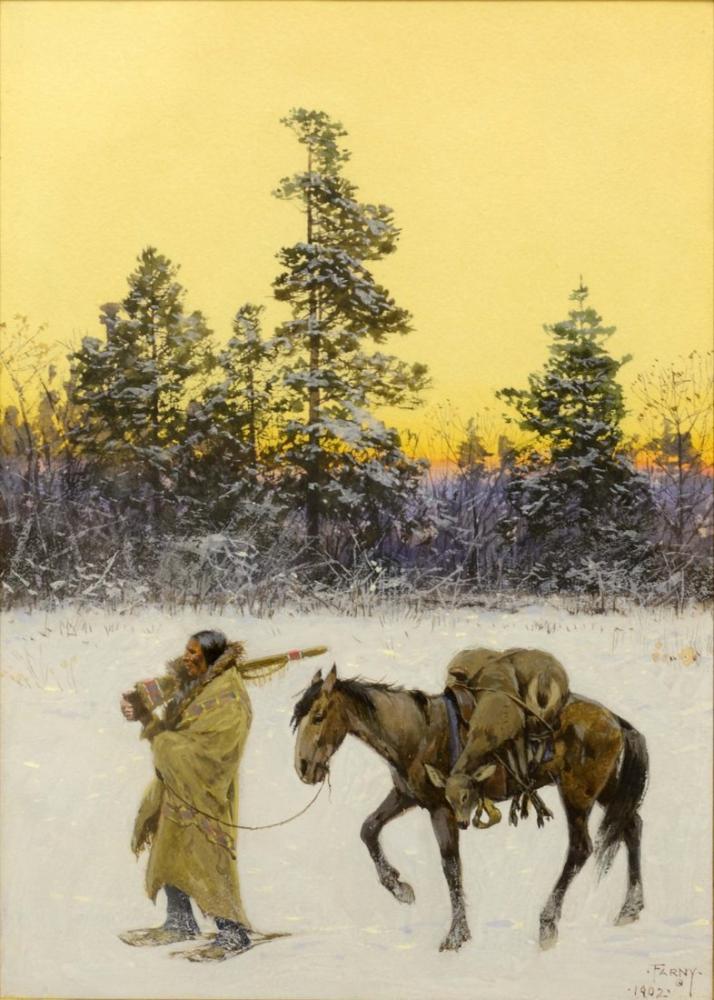 Henry François Farny Bir Kara Ayak Avcısı, Kanvas Tablo, Henry Farny, kanvas tablo, canvas print sales