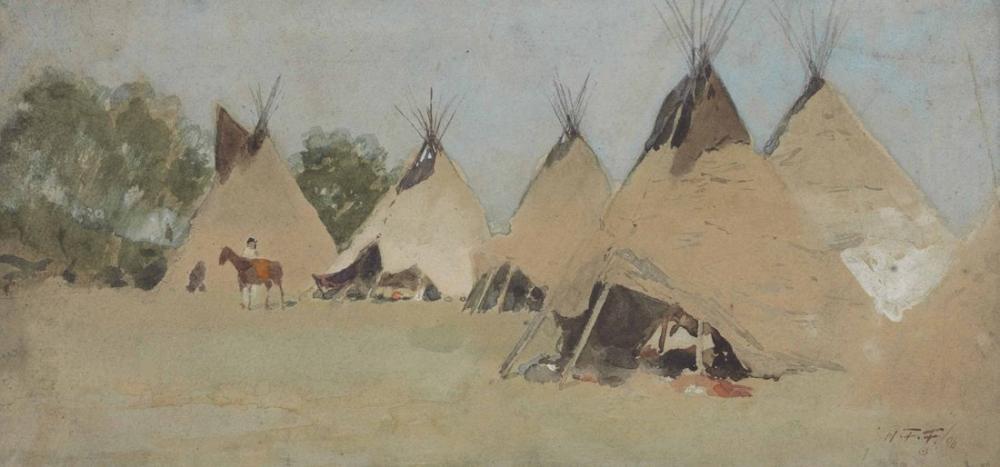 Henry François Farny Indian Camp, Canvas, Henry Farny, kanvas tablo, canvas print sales