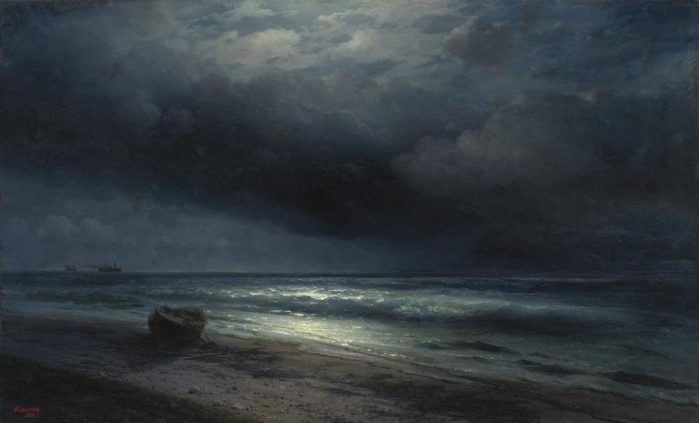 Ivan Aivazovsky A Moonlit Night At Sea, Canvas, Ivan Aivazovsky, kanvas tablo, canvas print sales