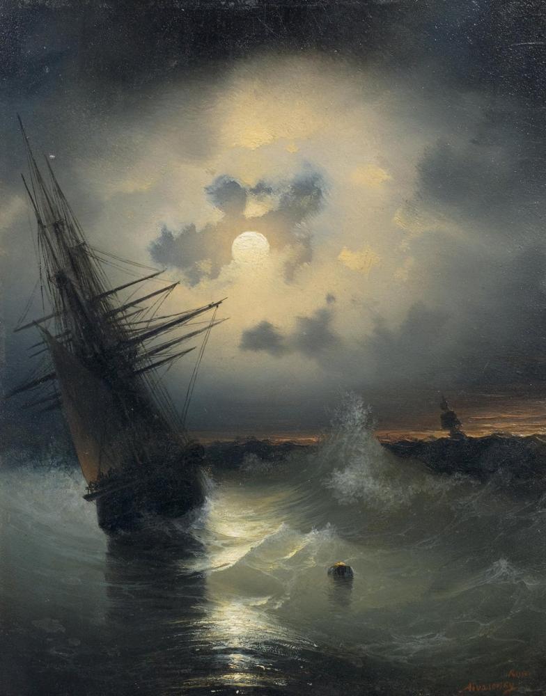 Ivan Aivazovsky A Sailing Ship On A High Sea, Canvas, Ivan Aivazovsky, kanvas tablo, canvas print sales