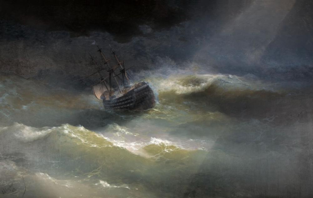 Ivan Aivazovsky A Ship In A Storm, Canvas, Ivan Aivazovsky, kanvas tablo, canvas print sales