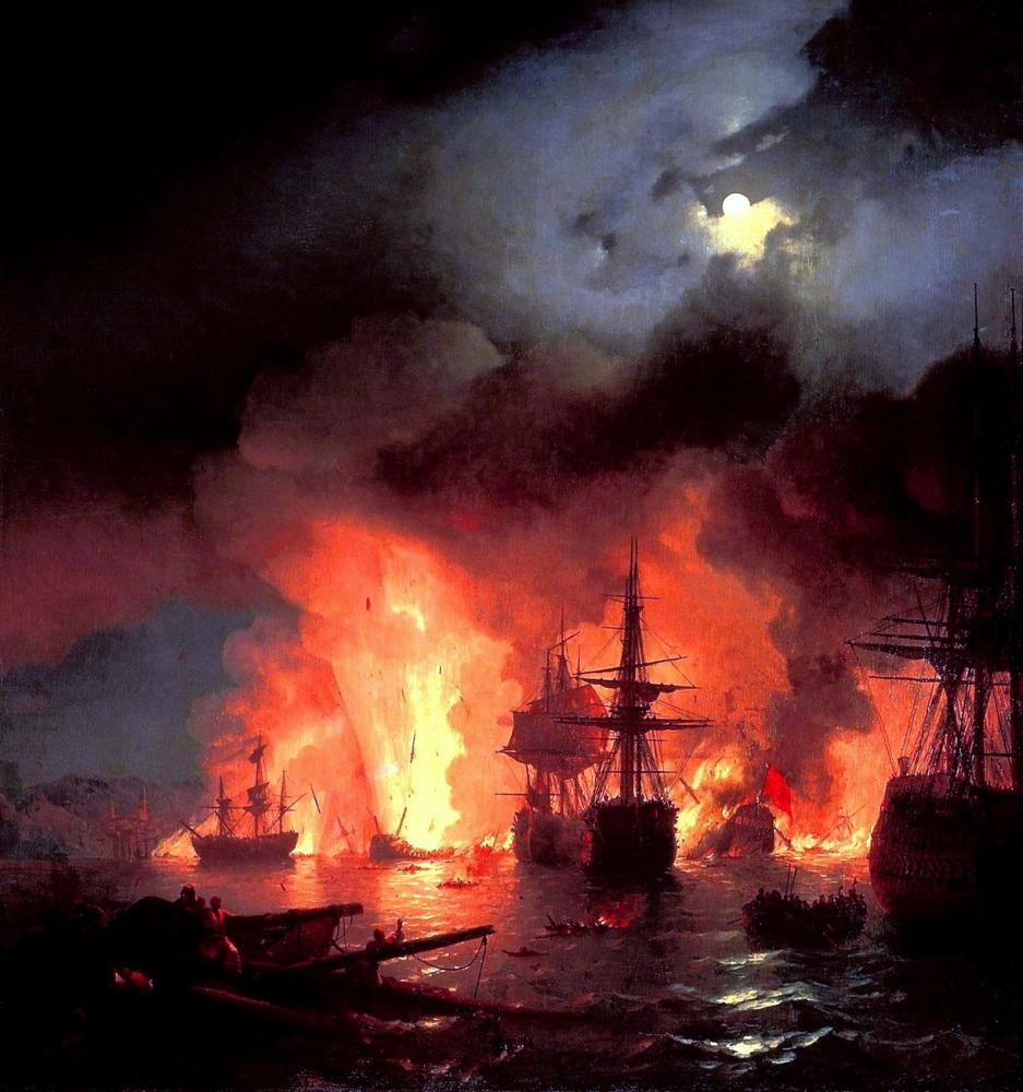Ivan Aivazovsky The Battle Of Chesma, Canvas, Ivan Aivazovsky, kanvas tablo, canvas print sales