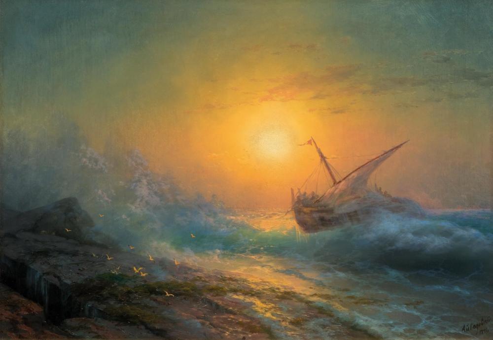 Ivan Aivazovsky Günbatımında Fırtınalı Denizde, Kanvas Tablo, Ivan Aivazovsky, kanvas tablo, canvas print sales