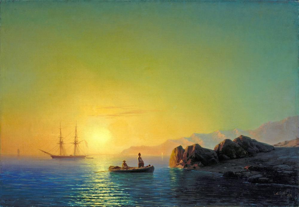 Ivan Aivazovsky Sunset Off The Crimean coast, Canvas, Ivan Aivazovsky, kanvas tablo, canvas print sales