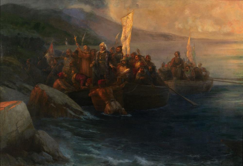 Ivan Aivazovsky Columbus Yandaşlarıyla Söyleşi Bir Amerikan Adası San Salvador, Kanvas Tablo, Ivan Aivazovsky, kanvas tablo, canvas print sales