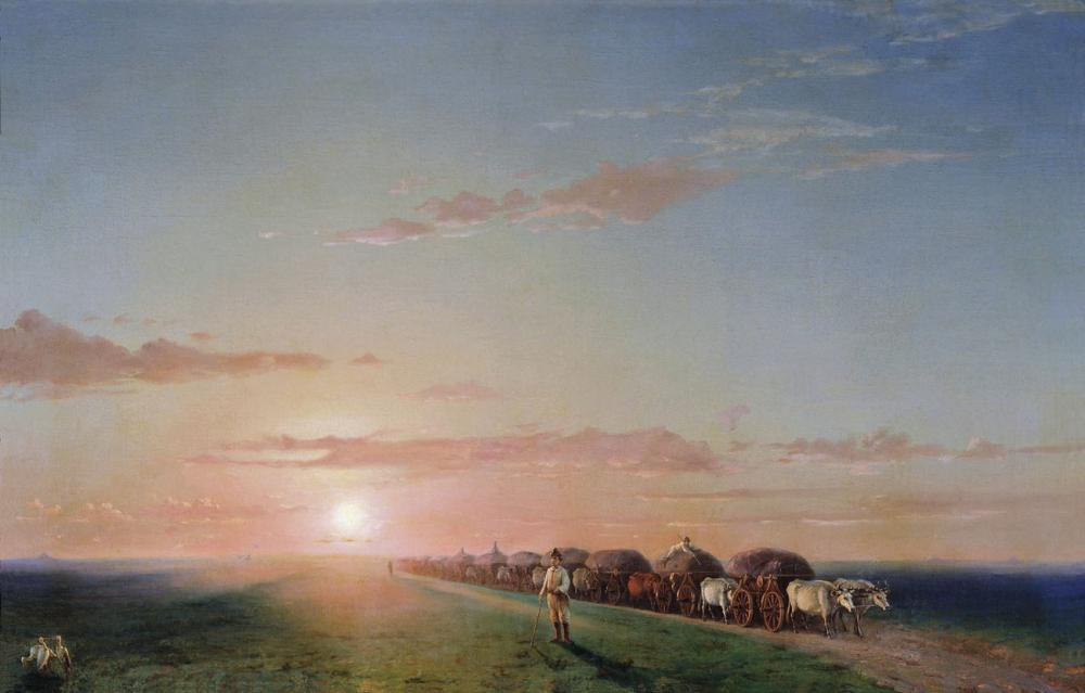 Ivan Aivazovsky The Troop In The Steppe, Canvas, Ivan Aivazovsky, kanvas tablo, canvas print sales