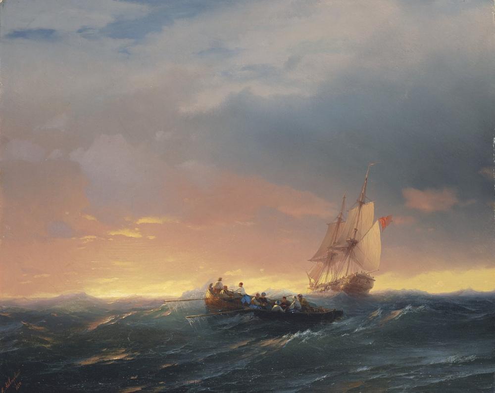 Ivan Aivazovsky Günbatımında Bir Şişede Gemiler, Kanvas Tablo, Ivan Aivazovsky, kanvas tablo, canvas print sales
