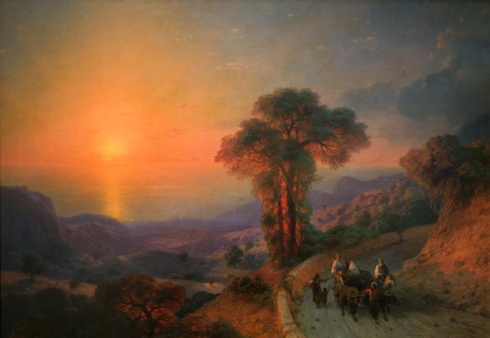 Ivan Aivazovsky Dağlardan Deniz Manzarası, Kanvas Tablo, Ivan Aivazovsky, kanvas tablo, canvas print sales