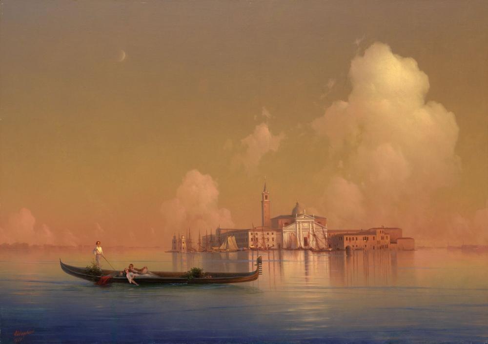 Ivan Aivazovsky Venedik Görünümünden San Giorgio Maggiore, Kanvas Tablo, Ivan Aivazovsky, kanvas tablo, canvas print sales
