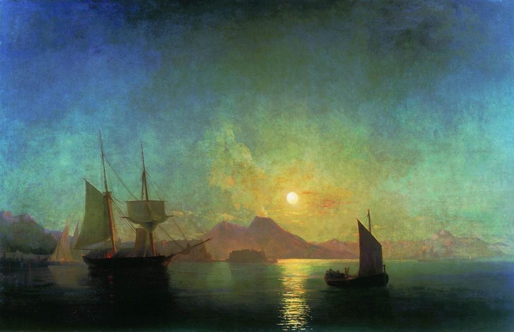 Ivan Aivazovsky Vezüv Yanardağı Mehtaplı Gecesinde, Kanvas Tablo, Ivan Aivazovsky, kanvas tablo, canvas print sales