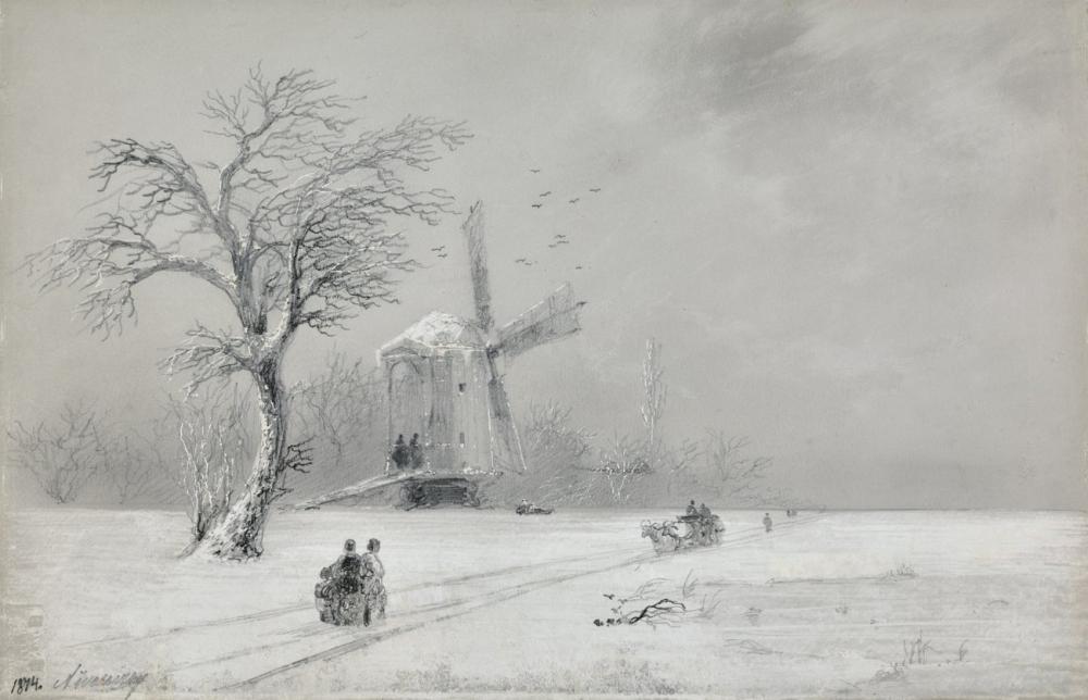 Ivan Aivazovsky Winter In Ukraine, Canvas, Ivan Aivazovsky, kanvas tablo, canvas print sales