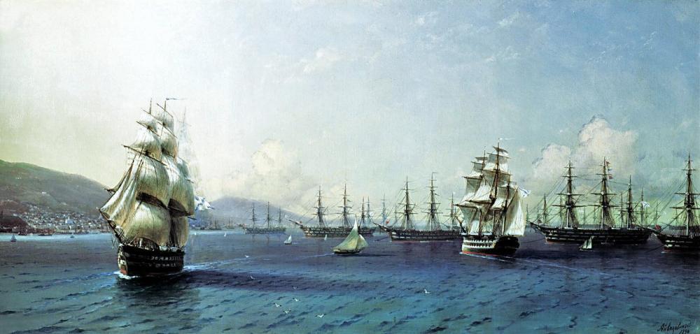 Ivan Aivazovsky Black Sea Fleet In The Bay Of Theodosia, Canvas, Ivan Aivazovsky, kanvas tablo, canvas print sales