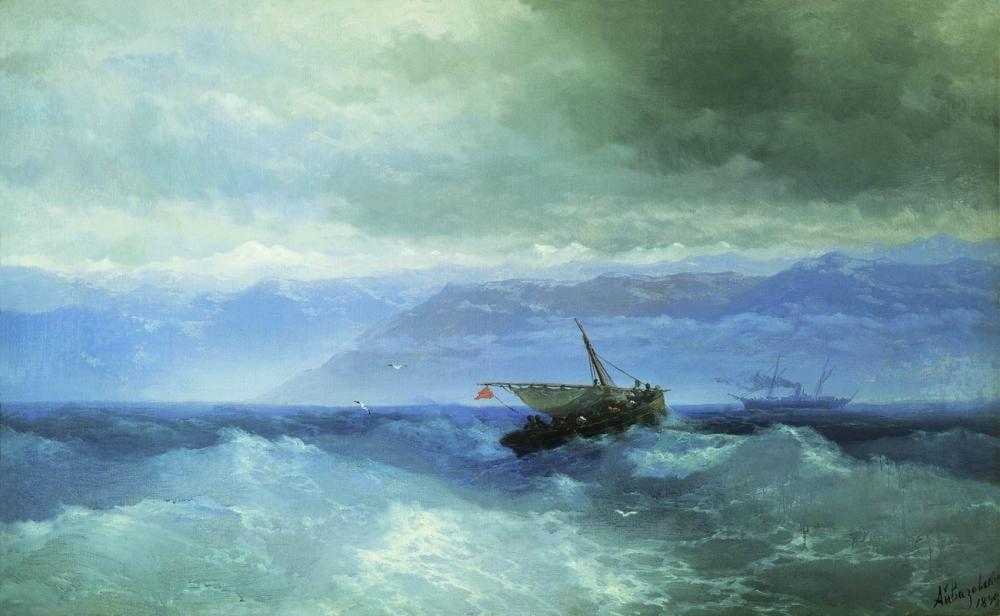 Ivan Aivazovsky Kafkas Dağları Denizden, Kanvas Tablo, Ivan Aivazovsky, kanvas tablo, canvas print sales