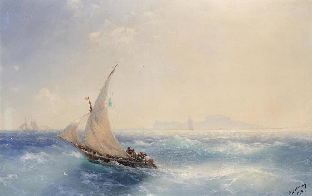 Ivan Aivazovsky Delivered To Shore Island, Canvas, Ivan Aivazovsky, kanvas tablo, canvas print sales