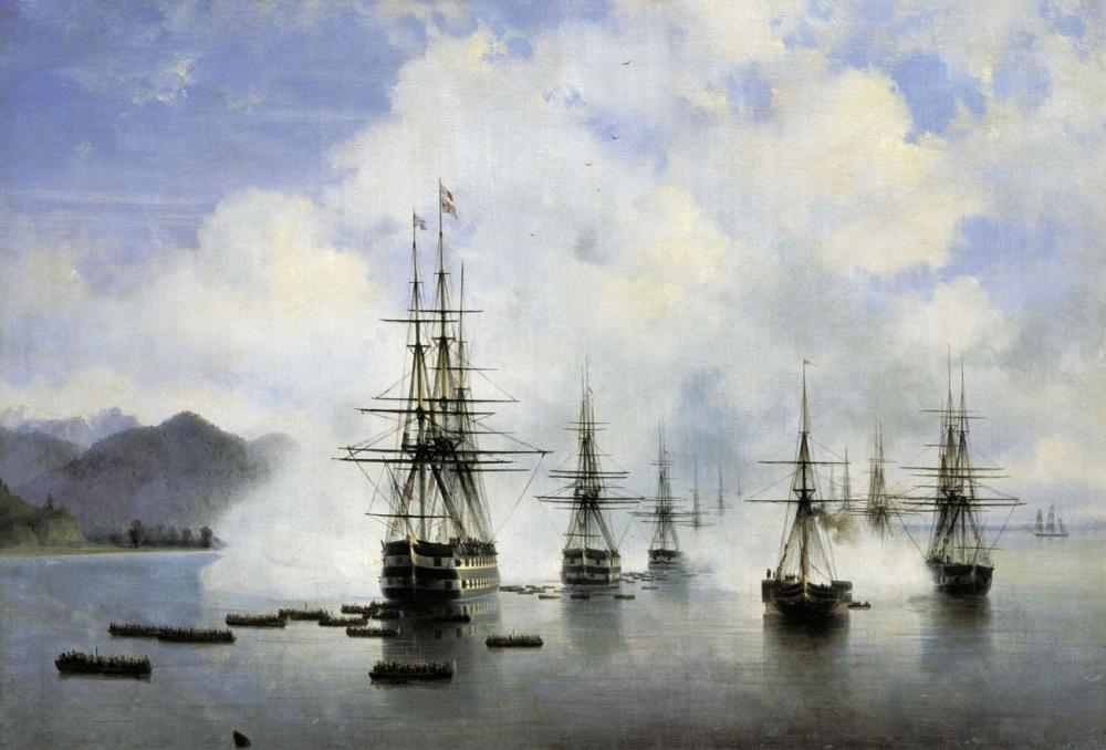 Ivan Aivazovsky Desant Raevskogo In Subasha, Canvas, Ivan Aivazovsky, kanvas tablo, canvas print sales