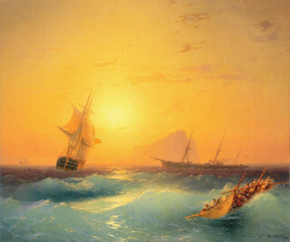 Ivan Aivazovsky Gibraltar, Canvas, Ivan Aivazovsky, kanvas tablo, canvas print sales