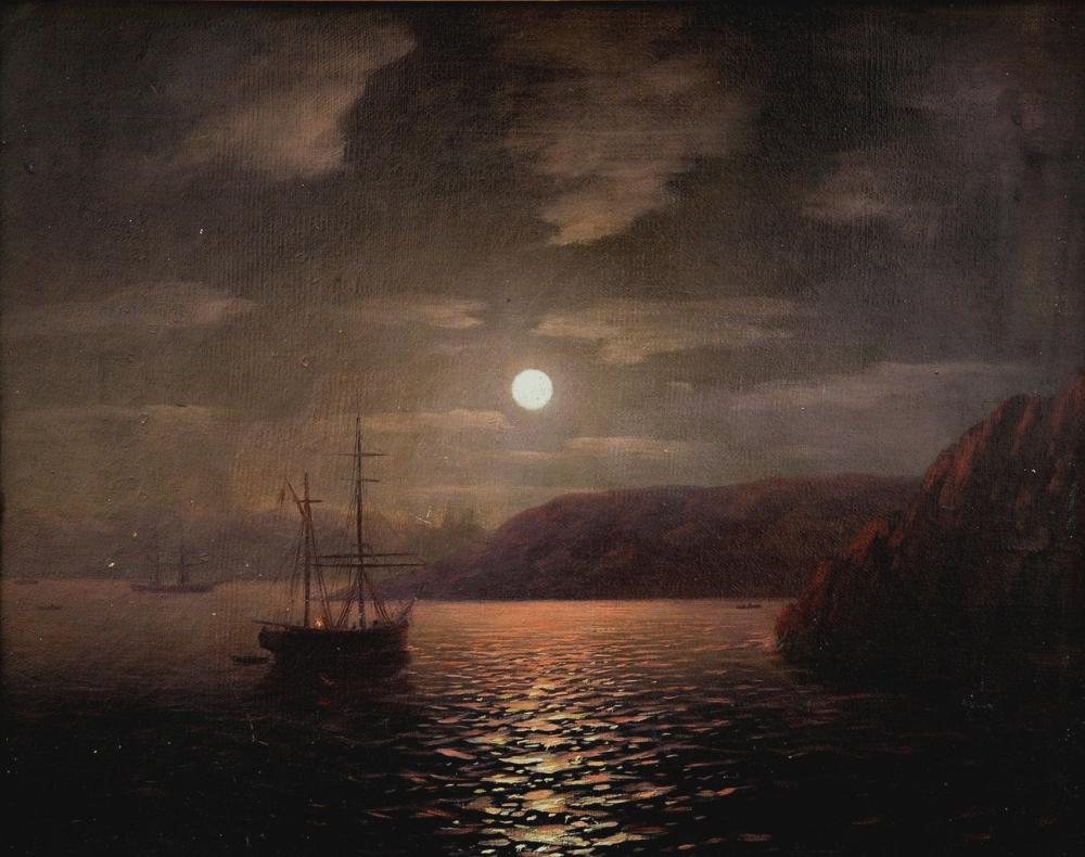 Ivan Aivazovsky Moonlight Night Black Sea, Canvas, Ivan Aivazovsky, kanvas tablo, canvas print sales