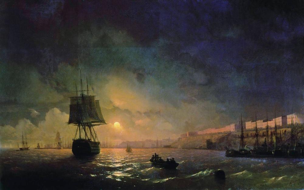 Ivan Aivazovsky Moon Over Odessa, Canvas, Ivan Aivazovsky, kanvas tablo, canvas print sales