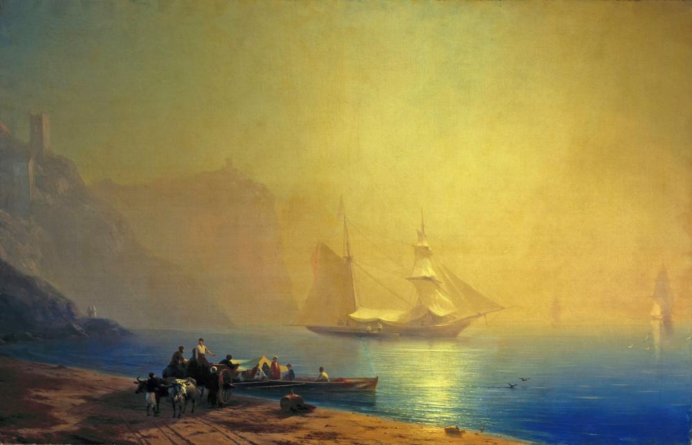Ivan Aivazovsky Morning On The Sea Coast Sudak, Canvas, Ivan Aivazovsky, kanvas tablo, canvas print sales