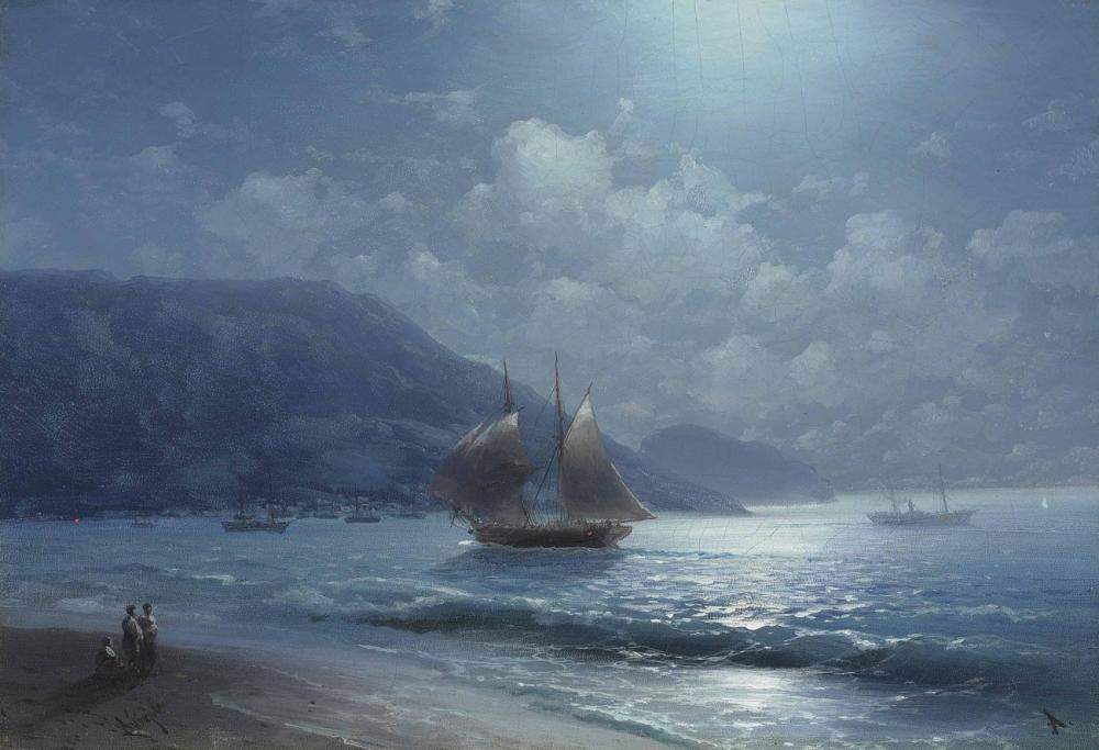 Ivan Aivazovsky Off The Coast Near Yalta By Moonlight, Canvas, Ivan Aivazovsky, kanvas tablo, canvas print sales