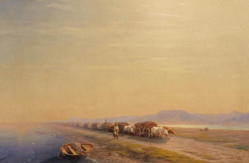Ivan Aivazovsky isthmus Üzerinde Öküz, Kanvas Tablo, Ivan Aivazovsky, kanvas tablo, canvas print sales