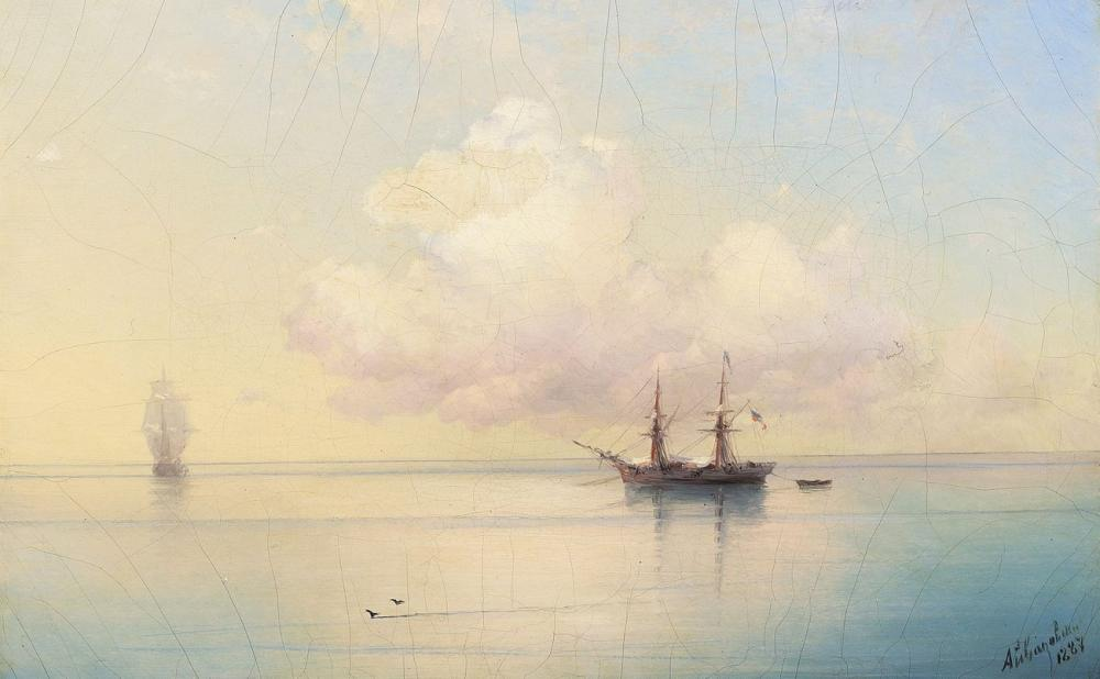 Ivan Aivazovsky Sailing Ships On A Calm Day, Canvas, Ivan Aivazovsky, kanvas tablo, canvas print sales