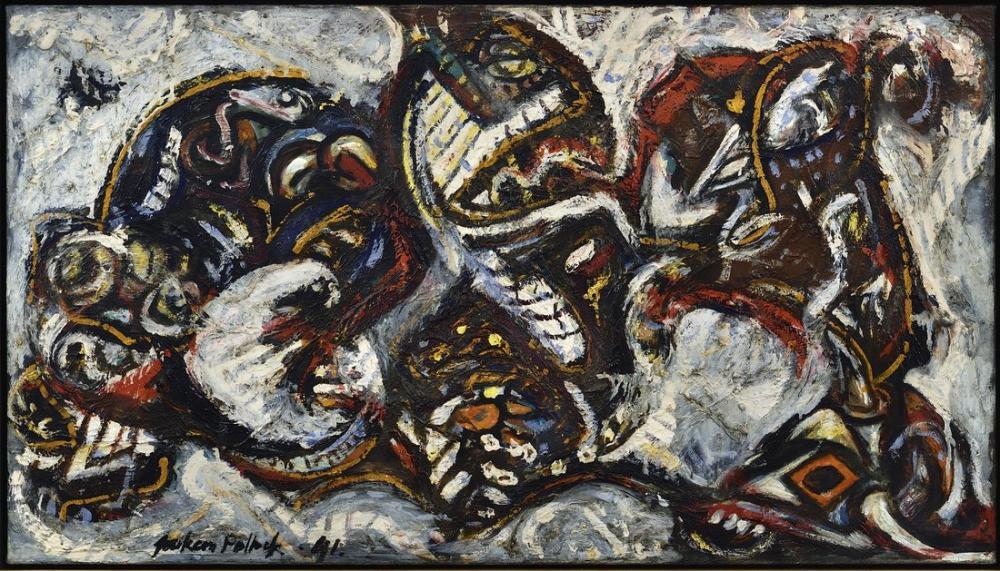 Jackson Pollock Maskeli Formlarla Kompozisyon, Kanvas Tablo, Jackson Pollock, kanvas tablo, canvas print sales