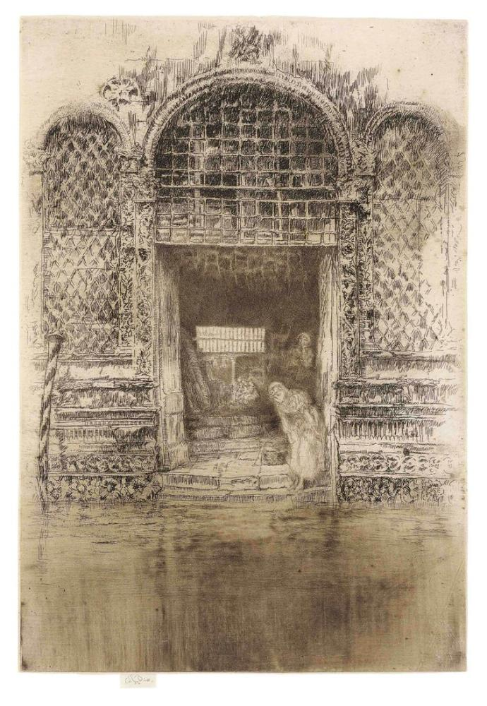 James Abbott McNeill Whistler, The Doorway from Twelve Etchings, Figure, James Abbott McNeill Whistler, kanvas tablo, canvas print sales