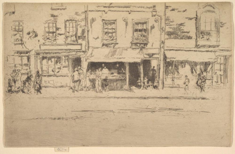 James Abbott McNeill Whistler, Balık Dükkanı Yoğun Chelsea Balık Dükkanı Chelsea, Figür, James Abbott McNeill Whistler, kanvas tablo, canvas print sales