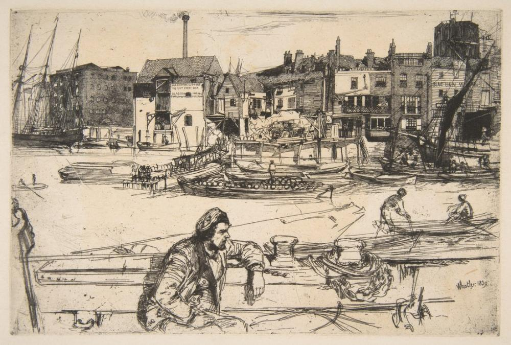James Abbott McNeill Whistler, Eski Thames Kara Aslan Bir Dağlama Rıhtımı, Kanvas Tablo, James Abbott McNeill Whistler, kanvas tablo, canvas print sales