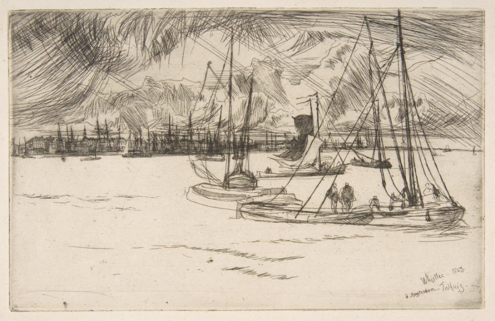 James Abbott McNeill Whistler, Amsterdam from the Tolhuis, Figure, James Abbott McNeill Whistler, kanvas tablo, canvas print sales