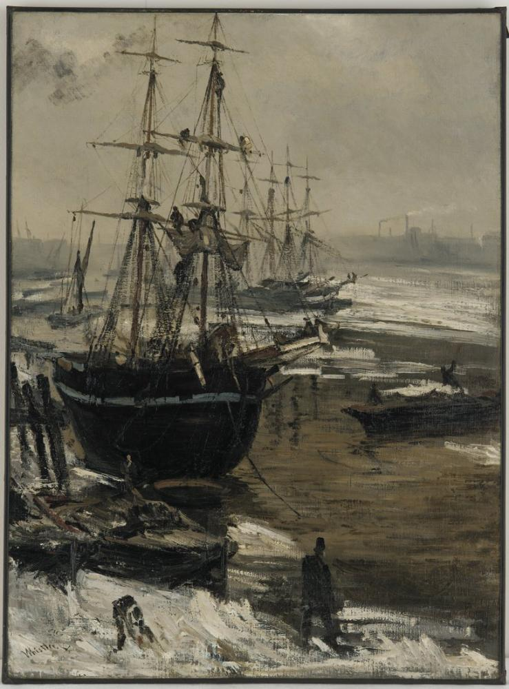 James Abbott McNeill Whistler, The Thames in Ice, Figure, James Abbott McNeill Whistler, kanvas tablo, canvas print sales