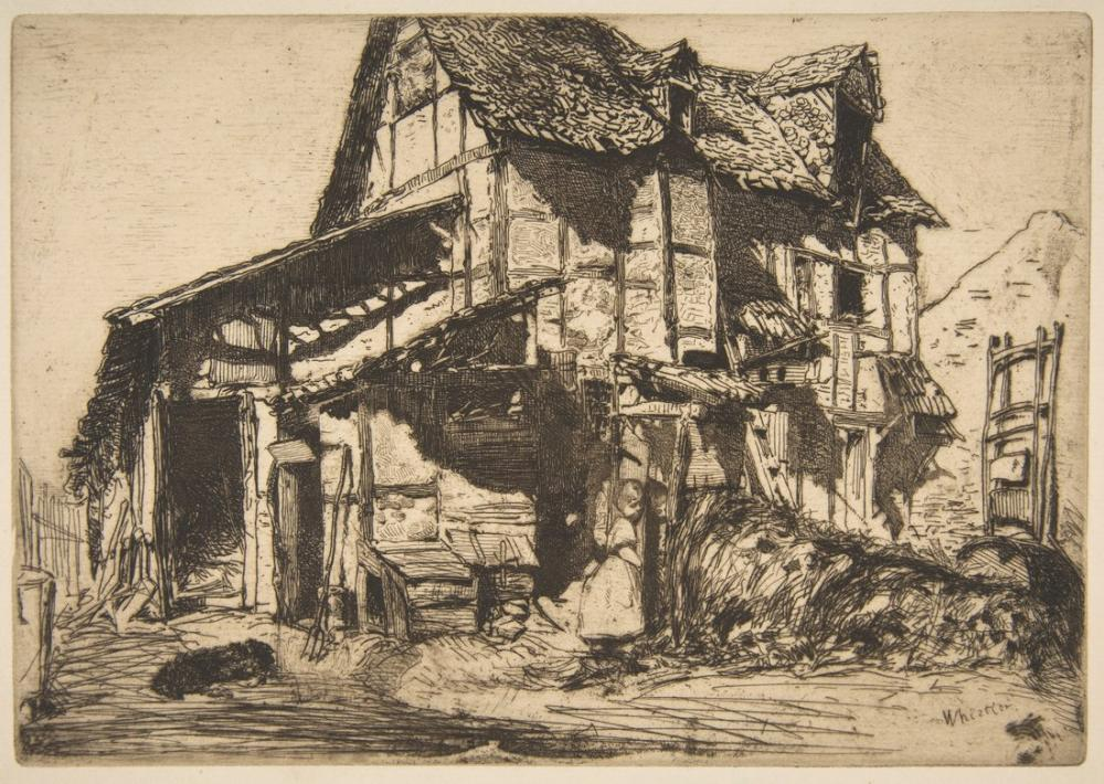 James Abbott McNeill Whistler, The Unsafe Tenement The Old Farm, Figure, James Abbott McNeill Whistler, kanvas tablo, canvas print sales