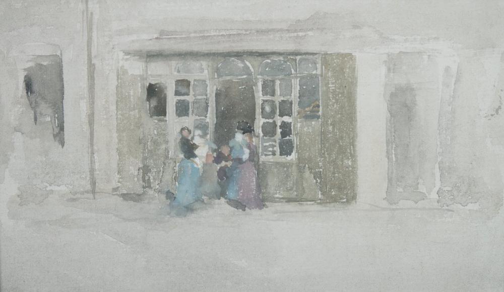 James Abbott McNeill Whistler, Brittany Dükkanı Dışında Kadınlar ve Çocuklar, Figür, James Abbott McNeill Whistler, kanvas tablo, canvas print sales