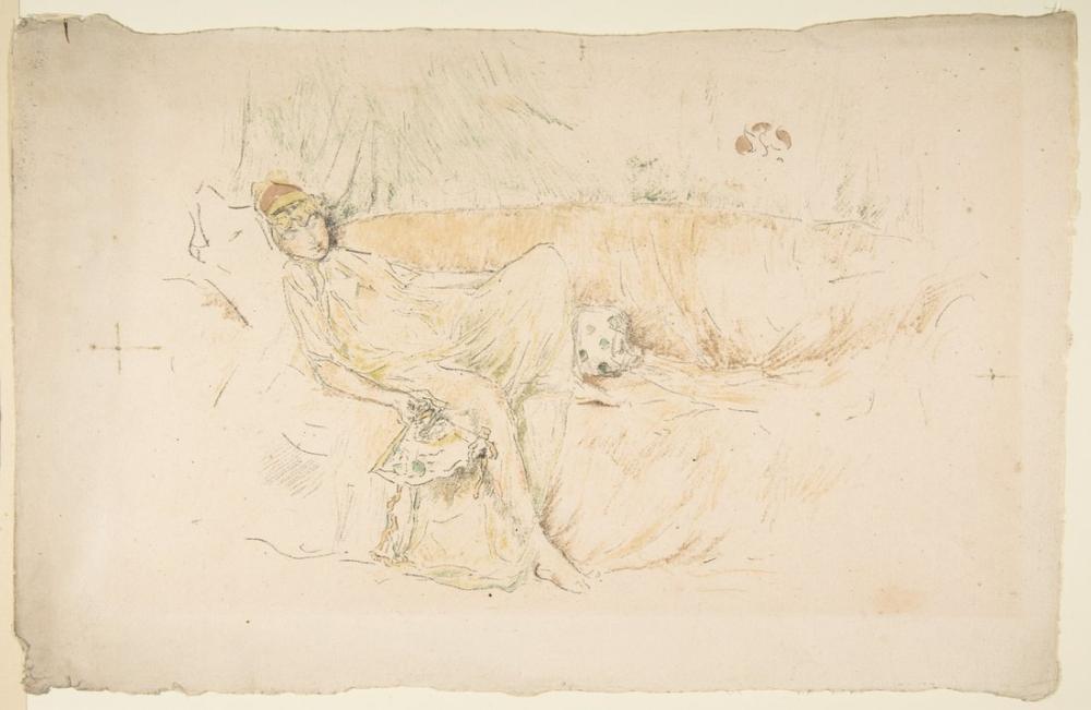 James Abbott McNeill Whistler, Dökümlü Yatan Figür, Figür, James Abbott McNeill Whistler, kanvas tablo, canvas print sales