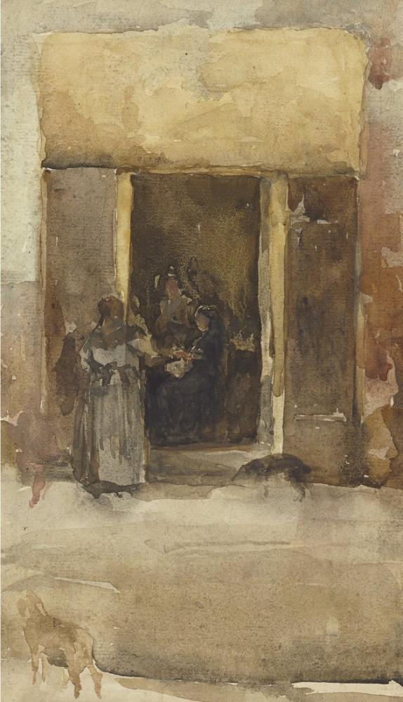 James Abbott McNeill Whistler, Bir Giriş Kapısında Figürler, Figür, James Abbott McNeill Whistler, kanvas tablo, canvas print sales